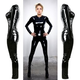 black catsuit club Coupons - Wholesale- Gothic Sexy Black Bright PVC Faux Leather Catsuit Jumpsuits & Playsuits Costume Club Wear S--XXL SX1253