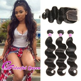 Wholesale Virgin Peruvian Closure Straight - Peruvian Virgin Hair Weaves Body Wave With Closure 4 Pcs Peerless Peruvian Straight Loose Wave Curly Human Hair 3 Bundles With Lace Closure