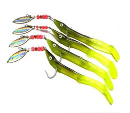 Wholesale Plastic Salmon - 10PCS Yellow Soft Plastic Lures Jig Head Hooks 6.2 Gram Fishing Spinnerbaits and Lifelike Salmon Spoons Lures