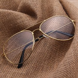 Wholesale frameless spectacles - Wholesale- Aviator Clear Glasses Spectacle Frame Sunglasses Gold Eyewear Women Sunglasses Brand Designer Glasses Shades lunette