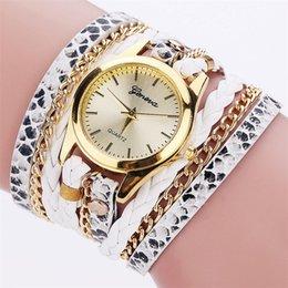 Wholesale Snake Watch Bracelets - 2017 new women serpentine snake skin leather bracelet watch fashion wholesale retro chain leisure ladies dress quartz watches
