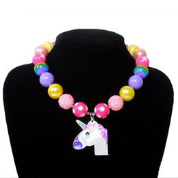 Wholesale Plastic Heart Pendant Necklace - Rainbow Unicorn Chunky Bubblegum Beaded Necklace for Your Kids Party