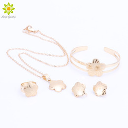 Wholesale children wedding jewelry - Baby Girls Jewelry Sets Children Gifts Gold Plated Kids Jewelry Set Flower Pendant Necklace Earrings Bangle Ring