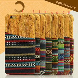 Wholesale Tribal Iphone Casing Wholesale - Retro Vintage Tribal Fabric Wood Grain Cases Wooden Cover Card Slot Case for iPhone 5 6 plus