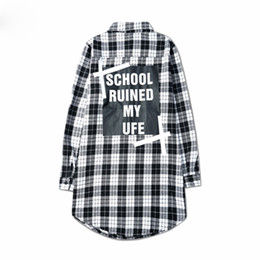 Wholesale Color Collage - 3 Color Scottish Plaid Long Sleeve Streetwear Personality Shirt Men Collage Letter Loose Shirt Casual Shirt Man