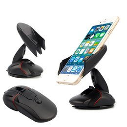 Wholesale Gps Suction Cups - Universal Car Windshield Phone Holder Mount Mouse Suction Cup Cradle Stand With Quick Release Button Mouse GPS Dashboard Mount for iPhone