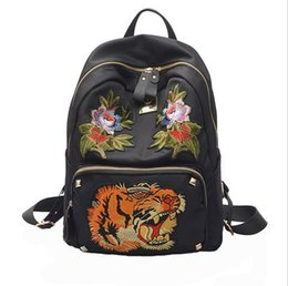 Wholesale Cloth Phone Bags - European and American fashion embroidery 2017 new women backpack Mochila Oxford cloth bag shoulder bag handbag Travel bag