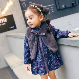 Wholesale Kid Girl Woolen Dresses - Everweekend Kids Girls 2pcs Outfits Sweet Lovely Princess Printed Flowers Leaves Woolen Dress 2pcs Baby Sets Dress