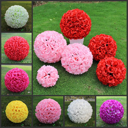 Wholesale Pink Pomander - Wedding Decorations 40cm 16 Inch Artificial Rose Silk Flower Kissing Balls Pomander Rose Wedding Flowers Bouquet Hanging Balls Party Decor