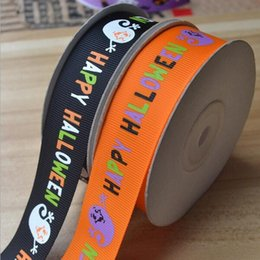 Wholesale 25mm tape - Happy Halloween pattern printed grosgrain tape Width 25mm orange black background Halloween ribbon for party 100 yards = 1 piece