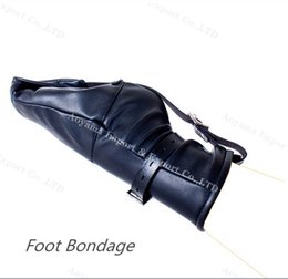 Wholesale Bondage Feet - 1 Pair Soft Black PU Leather Feet Bondage Zipper Design Sex Restraints Bondage Female Sex Toys Tools Cuffs
