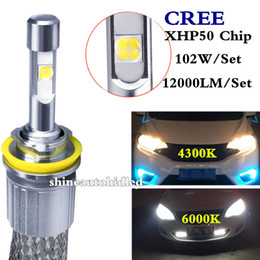 Wholesale Led Car Headlight Bulb Cree - H1 H3 H4 H7 H11 9005 9006 9012 H13 CREE CAR LED Headlight bulbs 104W 12000LM kits Auto lighting headlamp 4300K 6000K fog