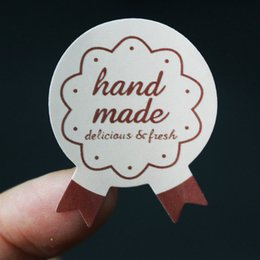 Wholesale handmade tags - 1200pcs HandMade Pink Medal Shape Seal Sticker baking package paper tags labels