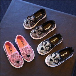 Wholesale Korean Cat Cartoon - Hug Me Girls Shoes Cute Cartoon Cat Ear Shoes 2017 Spring Korean Fashion Bling Shiny Bow Shoes ER-976