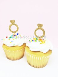 Wholesale Wholesale Shower Rings - Wholesale- gold diamond ring Glitter Cupcake Toppers Bridal Shower Cupcake toppers, Wedding Cupcake toppers wedding Engagement