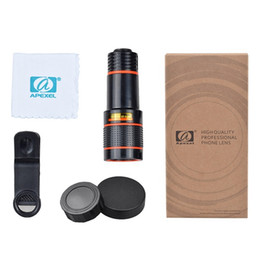 Wholesale External Lens - Universal Clip 8X 12X Optical Zoom Mobile Phone Telescope Lens Telephoto External Smartphone Camera Lens for iPhone for Sumsung HTC Huawei