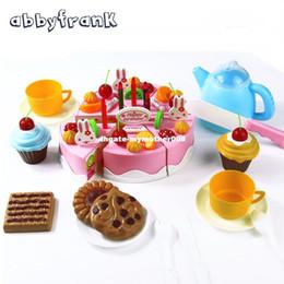 ollas de juguete de metal Rebajas Abbyfrank 75 Unids Juego de imaginación Corte de Cocina Pastel de Cumpleaños Herramientas Educativas Juguete Comida Juguete Cocina Para Niños Juego Comida Juego de Té
