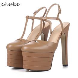 Wholesale Super High Heel 16cm - Fashion Designer 16cm Super High Heels Platform Shoes 2017 New Summer Heel Shoes Sexy Rivets Real Genuine Leather Women Shoes