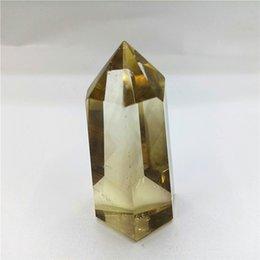 regalos románticos bola de cristal Rebajas los cristales de citrina de reiki hechos a mano apuntan la varita de cristal de cuarzo citrino natural PUNTO para el regalo CURACIÓN 40g