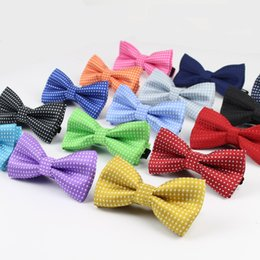 Wholesale Silver Kids Tuxedo - Wholesale- Children Fashion Formal Cotton Bow Tie Kid Classical Dot Bowties Colorful Butterfly Wedding Party Pet Bowtie Tuxedo Ties