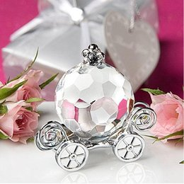 Wholesale Glass Art Paperweights - Wholesale Glass Crystal Pumpkin Carriage Figurines Paperweight Crafts Art&Collection Table Car Ornaments Souvenir Home Wedding Decoration