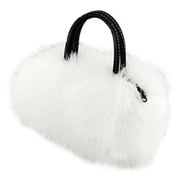 Wholesale Cute Cell Phone Plush - Wholesale-ASDS Lady Girl Pretty Cute Lovely Plush Fur Hairy Handbag Shoulder Bag Messenger Bag (White)