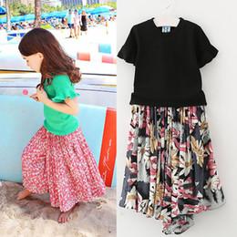 Wholesale Beach Girl T Shirt - Summer New Cuhk child Dress Suits Girls Outfits T shirt tops Flower pantskirt skirt 2pcs set kids Beach Clothing Children baby Clothes A220
