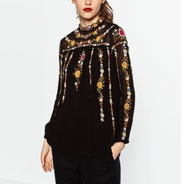 Wholesale T Shirt Women Colorful - Wholesale- Vintage ZA Colorful Floral Print Embroidery Back Button Chiffon T-Shirt Street Women Stand Collar Pullover Long Sleeve Top Femme