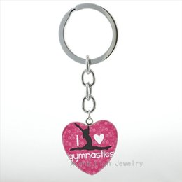 Wholesale Classic Exquisite Cars - I Love Gymnastics keychain classic fashion Gymnastics Peace Signs heart pendant key chain ring exquisite men women jewelry HP355