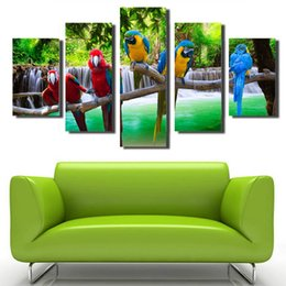 Wholesale Bird Picture Frames - Modern Landscape Trees and colorful birds Free shipping No frame Canvas pictureping Paintings ink painting large wall art