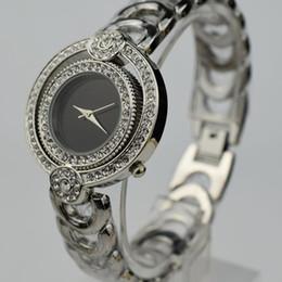 Wholesale Womens Diamond Dress Watch - A piece lots women Diamond watch 36mm luxury brand Swiss watches AAA waterproof Steel strip Fashion womens dress watch Silver Black montre