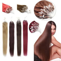 Wholesale Dark Auburn Micro Ring Extensions - Wholesale micro loop ring hair extensions 1g pcs indian remy human hair 100grams pack micro ring hair various color available