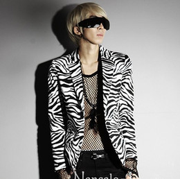 Wholesale Zebra Print Jackets - Wholesale- 2016 new fashion stage clothing for men korean male sexy zebra print suit man slim fit blazer cotton suit jacket terno masculino