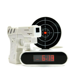 Wholesale Toy Guns Lasers - New Style Novelty Gun alarm clock Lcd Laser Gun Shooting Target Wake Up Alarm Desk Clock Gadget Fun Electronic Toy