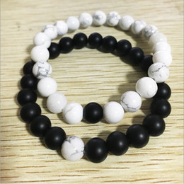 Wholesale Mens Rope Crystal Beads Bracelets - Natural White Howlite Stone Beads Bracelet for Women Natural Stone Beaded Bracelet Set High Grade Mens Jewelry