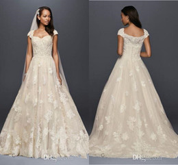 Wholesale Beaded Dress Slit Skirt - Oleg Cassini Vintage Cap Sleeve Wedding Dresses 2017 Modest Lace Applique Beaded Detail Plus Size Country Sweep Train Bridal Dress