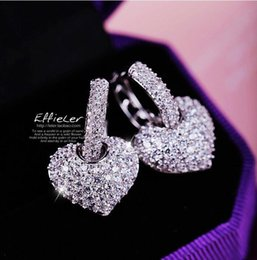 Wholesale American Heart Hoops - Wholesale Victoria Luxury Jewelry 925 Sterling Silver AAA Cubic Zirconia Gemstones Heart Women Girls Stud Hoop Earring For Lovers Gift