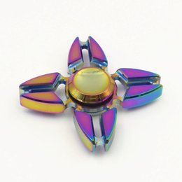 Wholesale Metal Legs Wholesale - Rainbow Four Leaves Fidget Spinner Crabs Leg Style Gyro Cyclone Hand Spinner EDC aluminium alloy Decompression Anxiety Toys with Retail Box