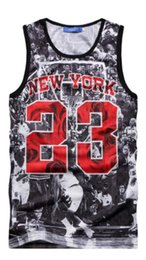 Wholesale Numbers Vests - Wholesale- New Arrival Popular Harajuku 3D Printted player number 23 Man Tank Sleeveless O-neck Vest Tees Tops Plus Size 5XL