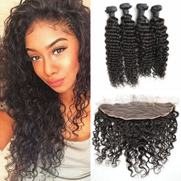Wholesale Russian Deep Wave Hair - Deep Wave Peruvian Virgin Hair Bundles With Lace Frontal Closure Natural Black Human Hair Extensions G-EASY