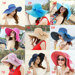 Wholesale Foldable Hats Women - 2017 high quality women hat sunscreen Korean version of the foldable big eaves sun beach hat beach sun hat