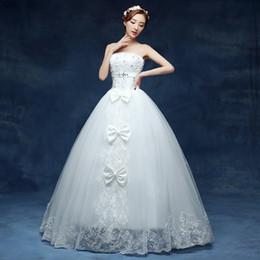 Wholesale Images Decoration Wedding - Wedding Dresses 2017 Elegant Strapless Luxury Crystal And Bow Decoration White Ball Gown Noble Vestido De Novia F