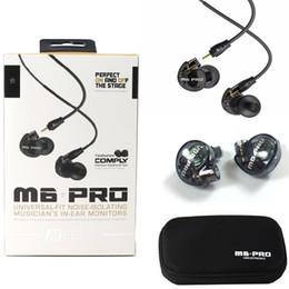 Wholesale Pro Audio Wire - MEE Audio M6 PRO Noise Canceling 3.5mm HiFi In-Ear Monitors Earphones with Detachable Cables Sports Wired Headphones Black Clear Colors DHL