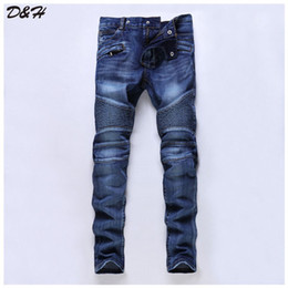 Wholesale Cool Riders - Wholesale-2016 New Arrival Jeans Men Jeans,Fashion Designer Character Men's Jeans,Classic Pleated Rider Cool Jeans,Large Size 28-38,931