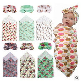 Wholesale Floral Gift Wrap - Newborn Blanket Headband Hats Floral Swaddle Baby Bath Towel Photo Prop Blankets Multi Functions Baby Wrap 20 Styles Christmas Gifts