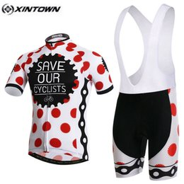 Wholesale Bib Tops Red - XINTOWN Pro Bike Jersey Bib Shorts Sets Red Dots Male Ropa Ciclismo Cycling Top Bottom Men Riding mtb Bicycle Clothing Suits
