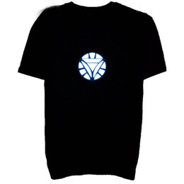 Wholesale Led T Shirts - Flashing Led T Shirt For Men Light Up Down Music Party Iron Man LED T-Shirt Male Dancing Light T Shirt Free Shipping