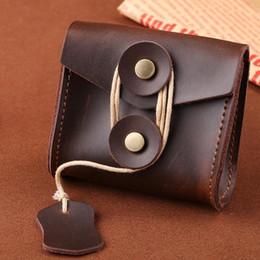 Wholesale Vintage Style Folders - 100% Genuine Leather Neck Wallets Cowhide Card Holders Brown color ID Card Folders Credit Card Covers wholesale