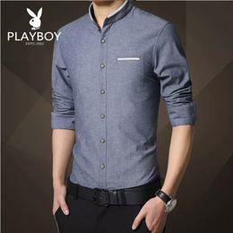Wholesale Mens Regular Fit Dress Shirts - New Fashion Casual Men Shirt Long Sleeve Mandarin Collar Slim Fit Shirt Men Korean Business Mens Dress Shirts Men Clothes M-5XL