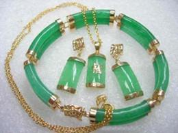 Wholesale Yellow Gold Jewellery Sets - Fine Jewellery 18k Yellow gold Green Jade Earring Pendant Bracelet Set